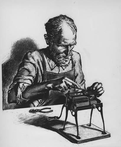 Angelo Vitantonio and his crank machine (courtesy Little Italy Historical Museum)