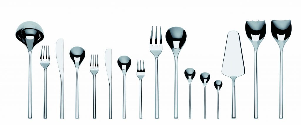 """MU flatware designed by Toyo Ito,  an award winning Japanese architect known for creating conceptual architecture in which he seeks to simultaneously express the physical and virtual worlds. He is a leading exponent of architecture that addresses the contemporary notion of a """"simulated"""" city. He started his design and architecture studio, Toyo Ito & Associates, in 1971. The MU flatware complements the KU porcelain dinnerware he earlier created for Alessi."""