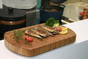Fried Fish on Larch Wood Board