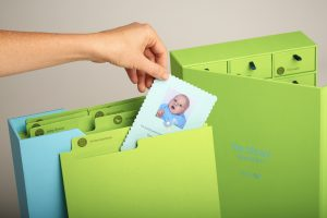 file folders and box baby photo